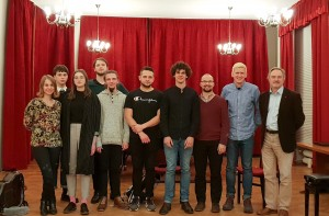 Marek Pasieczny w/ Prof Piotr Zaleski and students at the Academy of Music, Nov. 2018